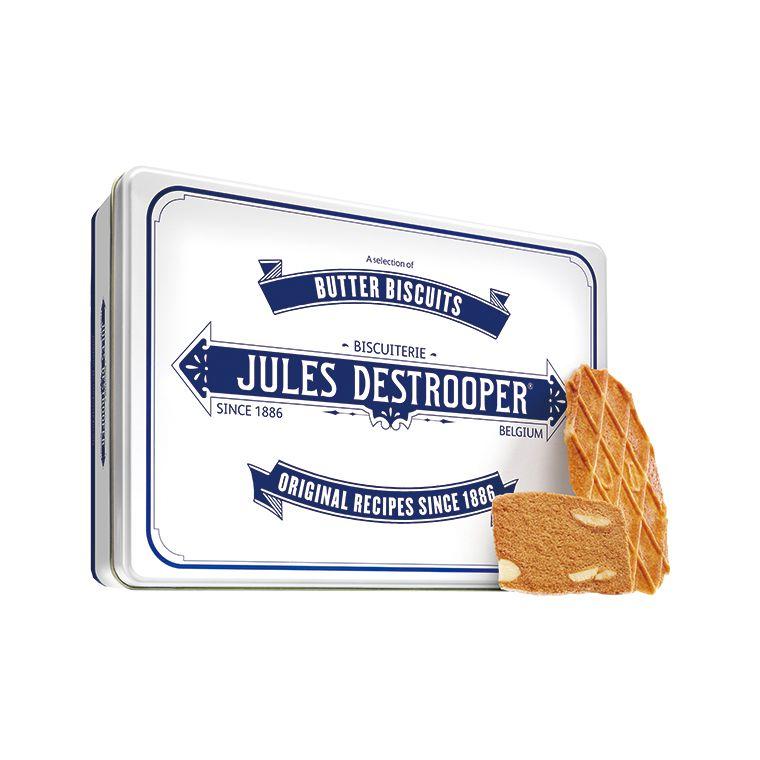 Bánh quy Jules Destrooper Butter Crisps (Bánh quy bơ giòn) hộp thiếc Tin Retro 350g